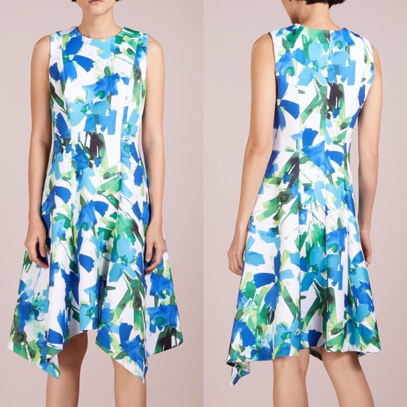 0365cb734565 NWT DKNY blue green and white floral print dress 8